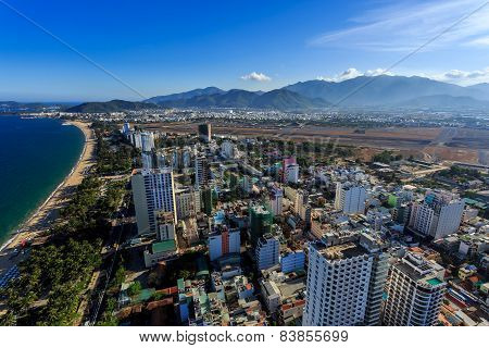 Nha Trang City Panorama With Sea And Mountains Vietnam