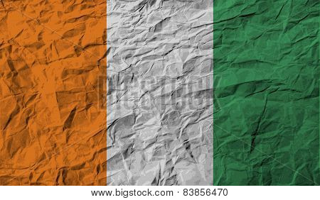 Flag Of Cote Divoire With Old Texture. Vector
