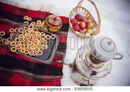 Winter picnic with samovar