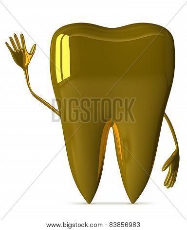 Golden Tooth Waving Hand
