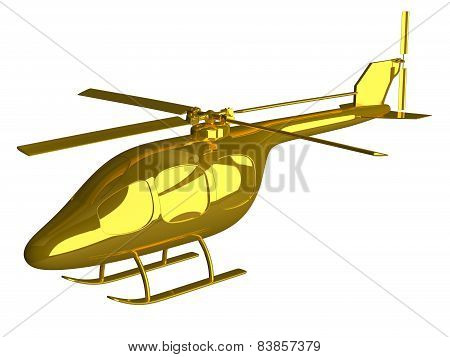 Golden Helicopter Isolated