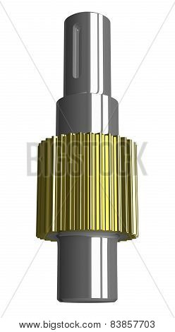 Metallic Gear Shaft Isolated