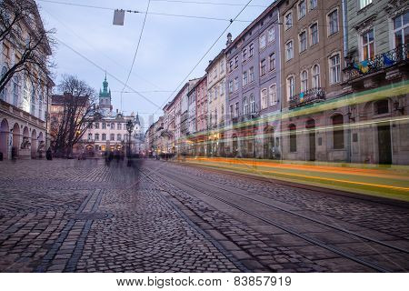 Lviv, Ukraine - February 23, 2015 Public Transport Train Downtown Lviv