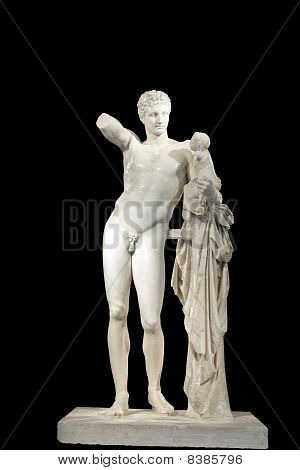 Ancient classical Greek statue of Hermes of Praxiteles