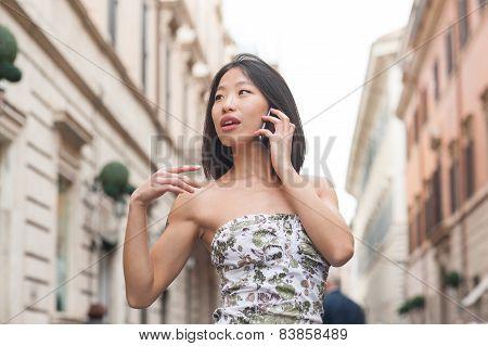 Beautiful Asian Woman Using Mobile Phone Spring Urban Outdoor