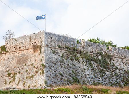 Greek Flag At The Venetian Fortezza Or Citadel In Rethymno, Crete, Greece