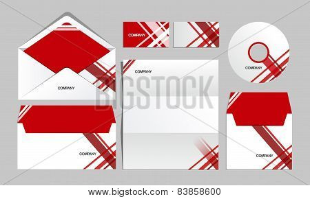 Red corporate lines identity template. Vector company style for brandbook and guideline.
