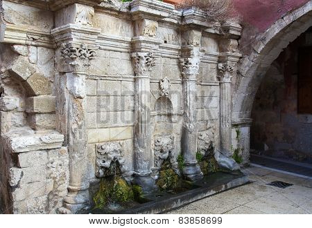 Rimondi Fountain In  Rethymno, Crete, Greece