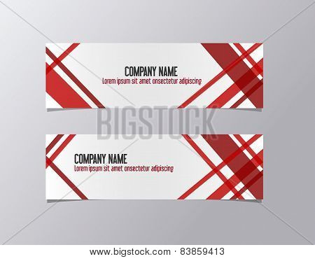 Red corporate banner identity template. Geometric lines company business banner vector.