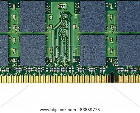 Macro Closeup Electronic Memory Card On White Background