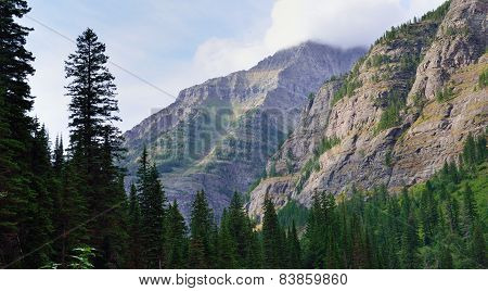 Mountains Around The Avalanche Lake In Glacier National Park