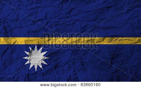 Flag Of Nauru With Old Texture. Vector