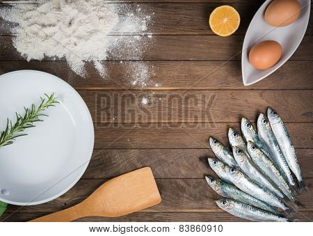Ingredients for frying sardines