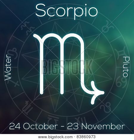 Zodiac Sign - Scorpio. White Line Astrological Symbol With Caption, Dates, Planet And Element