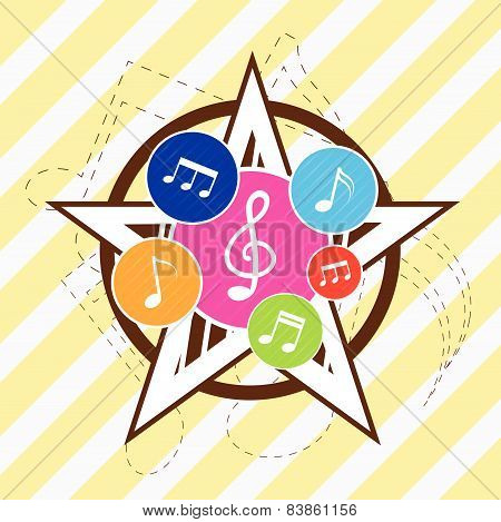 Music Note Icon On Star Background