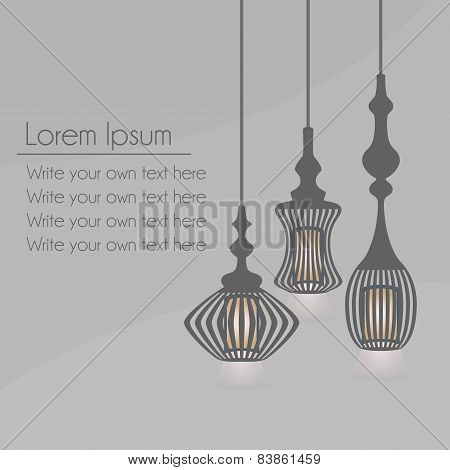 Set of hanging lanterns light chandeliers on gray background