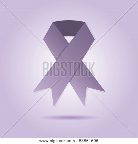 Abstract purple ribbon on purple gradient background