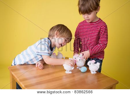 Kids Playing With Easter Bunny Toys