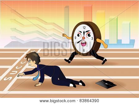 Businessman falling down while racing against time