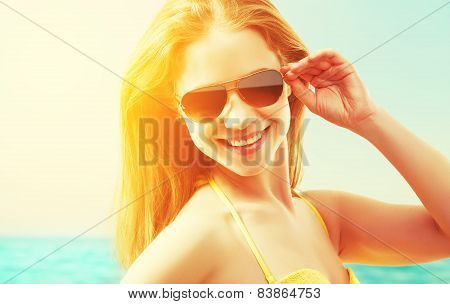 Beautiful Young Woman In Sunglasses Summer  Beach