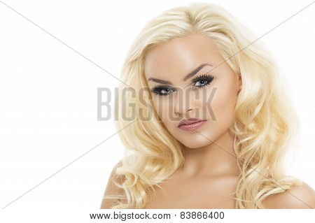 Pretty Blond Woman With Bare Shoulders