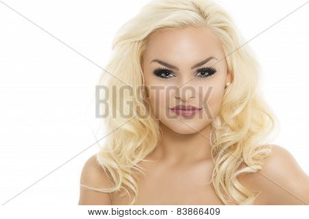 Gorgeous Young Blond Woman With Eye Makeup