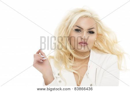Trendy Stylish Woman With Wavy Blond Hair