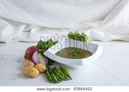 Mashed Peas, Zucchini, Onions And Potatoes