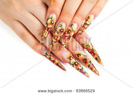 Beauty Floral Design Nails.