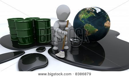 Man Cleaning Up Oil Spill