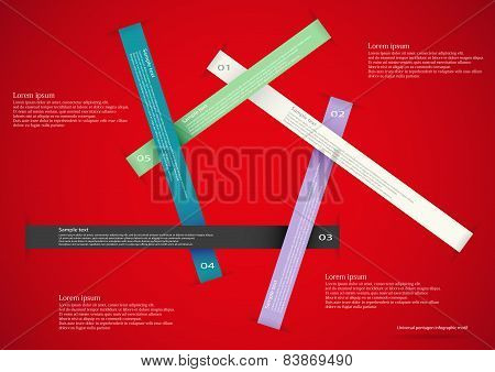 Five Long Ribbons On Red Background