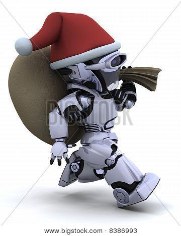 Roboter mit Weihnachten Geschenk sack