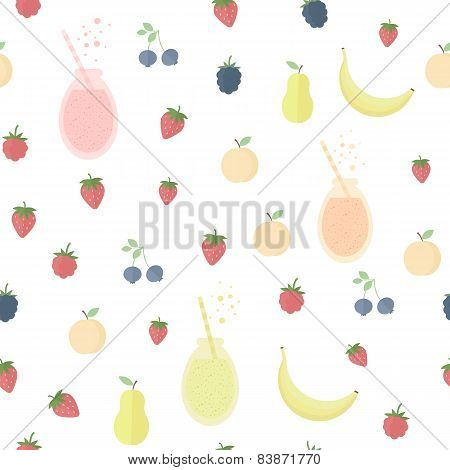 Seamless Background With Juice And Fruits