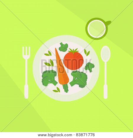 Plate With Vegetables And Glass Of Juice On A Table. Vegetarian Food Concept