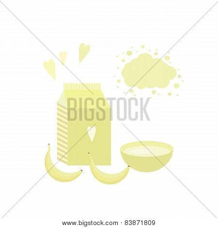 Vector Illustration With Yoghurt And Bananas On A Table