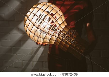 Hanging, wooden light shade lamp with bulb