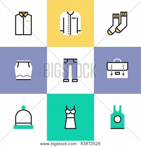 Everyday Clothes Pictogram Icons Set