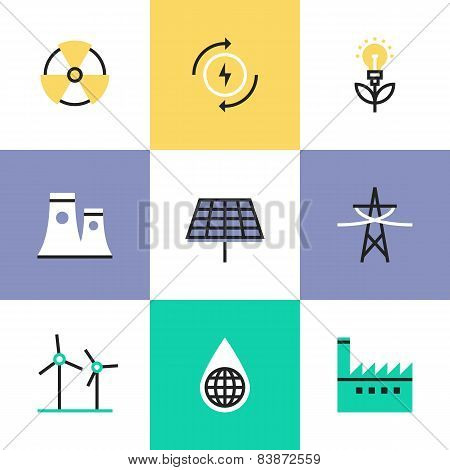 Renewable Energy Production Pictogram Icons Set