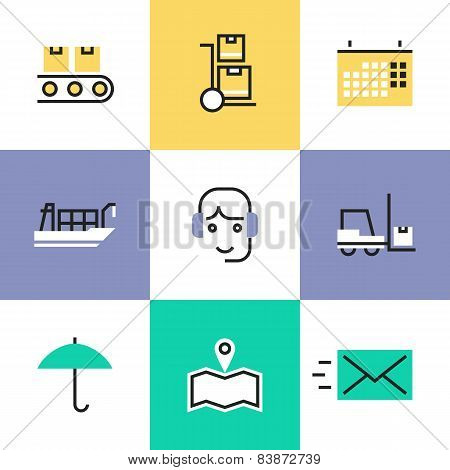 Logistics Industry Services Pictogram Icons Set