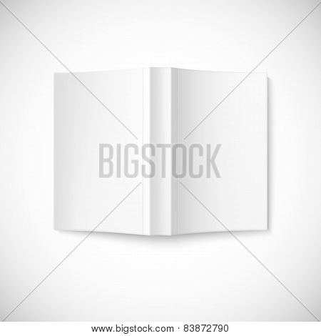 Open blank book cover, top view.