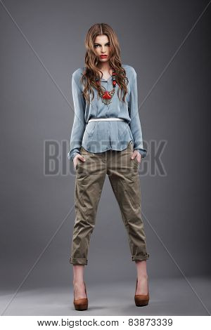 Individuality. Trendy Fashion Model In Pants
