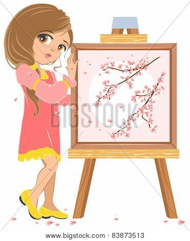 Girl standing near easel painter. Picture of cherry blossoms