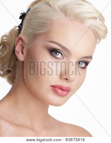 Close Up Portrait Of Charming Blond Woman With Natural Clean Skin