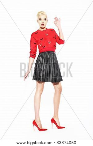 Glamorous Woman In Red Blouse And Black Skirt