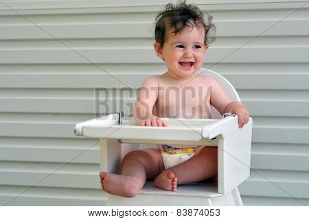 Baby Girl Sit On High Chair