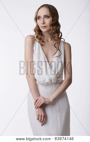 Neatness. Young Quiet Woman In Light Dress