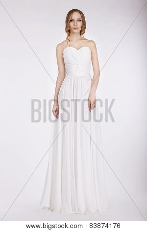 Appealing Young Bride In Wedding Dress