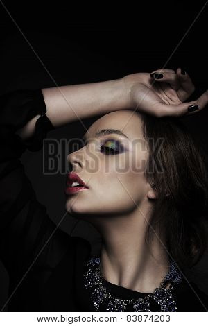 Profile Of Pensive Woman With Closed Eyes