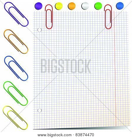 Sheet Of Paper With Paper Clips