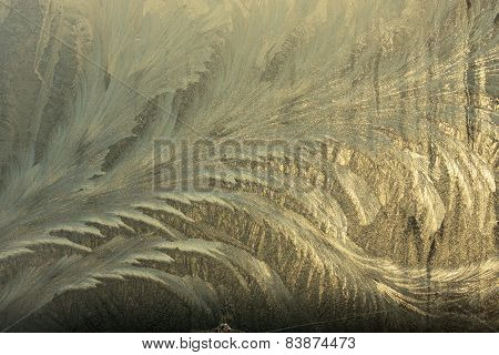 Winter Frostwork On Window Glass